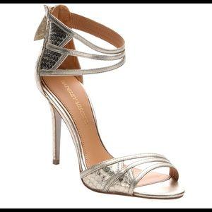 Badgley Mischka Platino Leather and Snakeskin Shoe